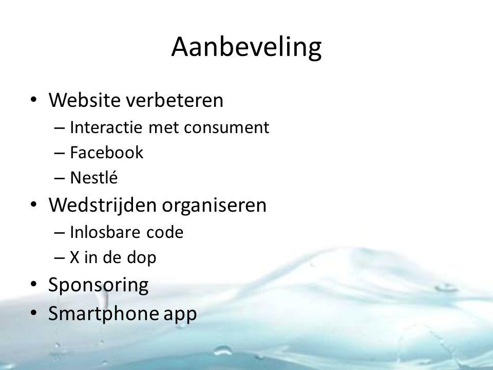Aanbeveling Website verbeteren – Interactie met consument – Facebook – Nestlé Wedstrijden organiseren – Inlosbare code – X in de dop Sponsoring Smartphone app