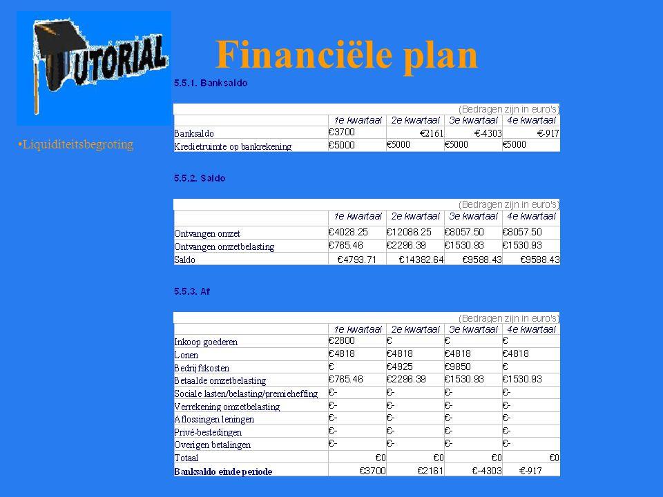 Financiële plan Liquiditeitsbegroting