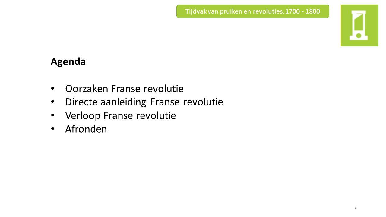 Agenda Oorzaken Franse revolutie Directe aanleiding Franse revolutie Verloop Franse revolutie Afronden Tijdvak van pruiken en revoluties, 1700 - 1800