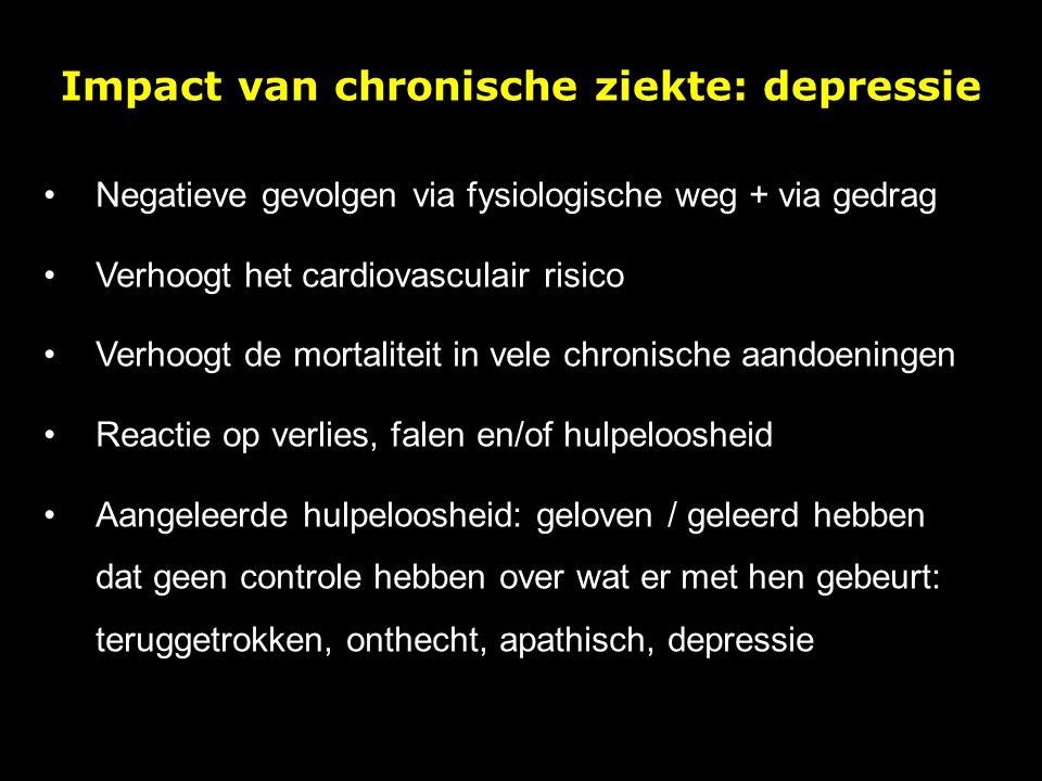 Impact van chronische ziekte: depressie Negatieve gevolgen via fysiologische weg + via gedrag Verhoogt het cardiovasculair risico Verhoogt de mortalit