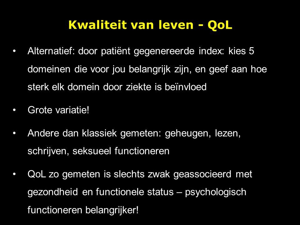 Kwaliteit van leven - QoL Alternatief: door patiënt gegenereerde index: kies 5 domeinen die voor jou belangrijk zijn, en geef aan hoe sterk elk domein