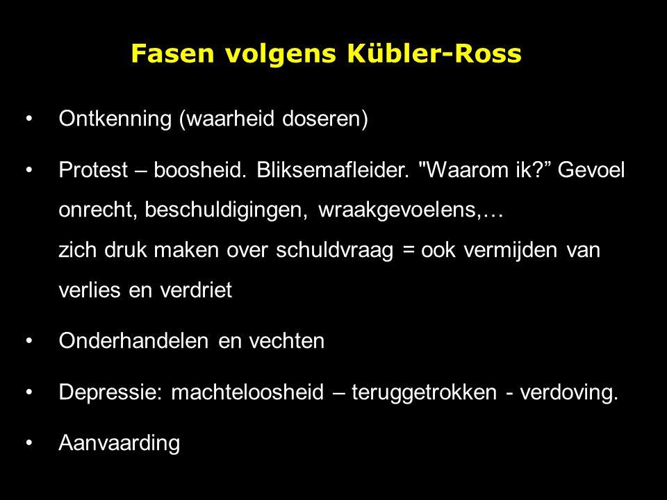 Fasen volgens Kübler-Ross Ontkenning (waarheid doseren) Protest – boosheid. Bliksemafleider.