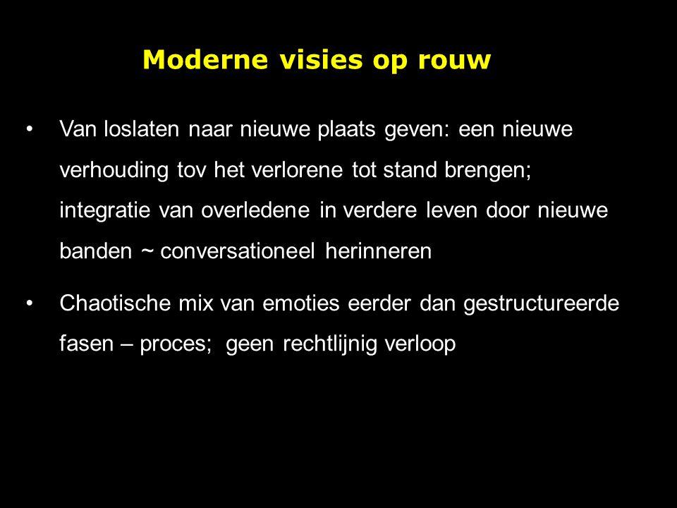 Moderne visies op rouw Van loslaten naar nieuwe plaats geven: een nieuwe verhouding tov het verlorene tot stand brengen; integratie van overledene in