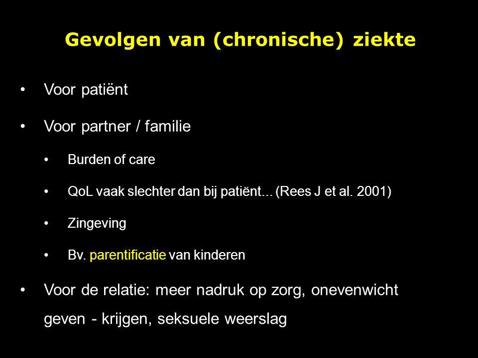 Gevolgen van (chronische) ziekte Voor patiënt Voor partner / familie Burden of care QoL vaak slechter dan bij patiënt... (Rees J et al. 2001) Zingevin