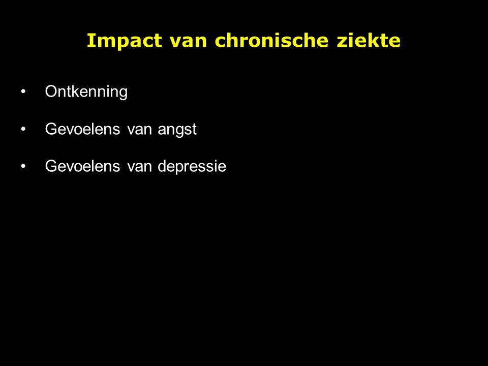 Impact van chronische ziekte: ontkenning Incl vermijding, minimaliseren, onrealistische hoop,… Helpend op korte termijn: doseren, geleidelijk en stapsgewijze coping 'aanspreken', angst en stress onder controle houden,… Risico's op langere termijn: behandeling, therapietrouw, sef-management, aanpassen aan ziekte,…