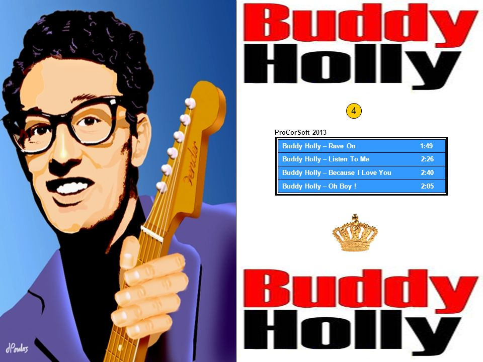 Buddy Holly – Rave On 1:49 Buddy Holly – Listen To Me 2:20 Buddy Holly – Because I Love You 2:37 Buddy Holly – Oh Boy .