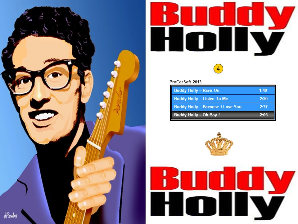 Buddy Holly – Rave On 1:49 Buddy Holly – Listen To Me 2:26 Buddy Holly – Because I Love You 2:40 Buddy Holly – Oh Boy .