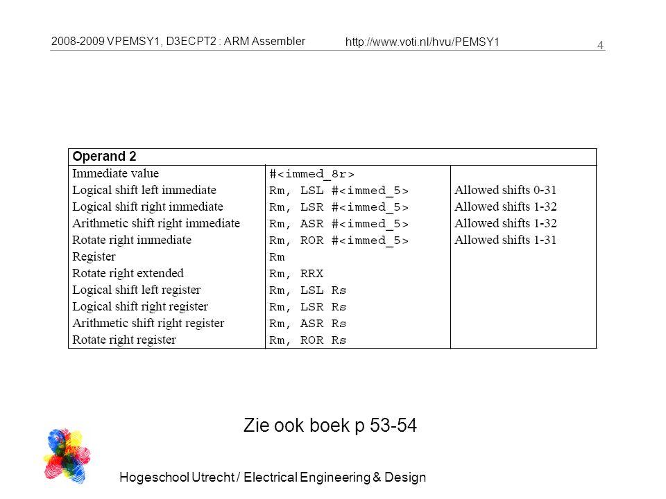 2008-2009 VPEMSY1, D3ECPT2 : ARM Assembler http://www.voti.nl/hvu/PEMSY1 5 Hogeschool Utrecht / Electrical Engineering & Design 5 Oefening: wat doet deze code.