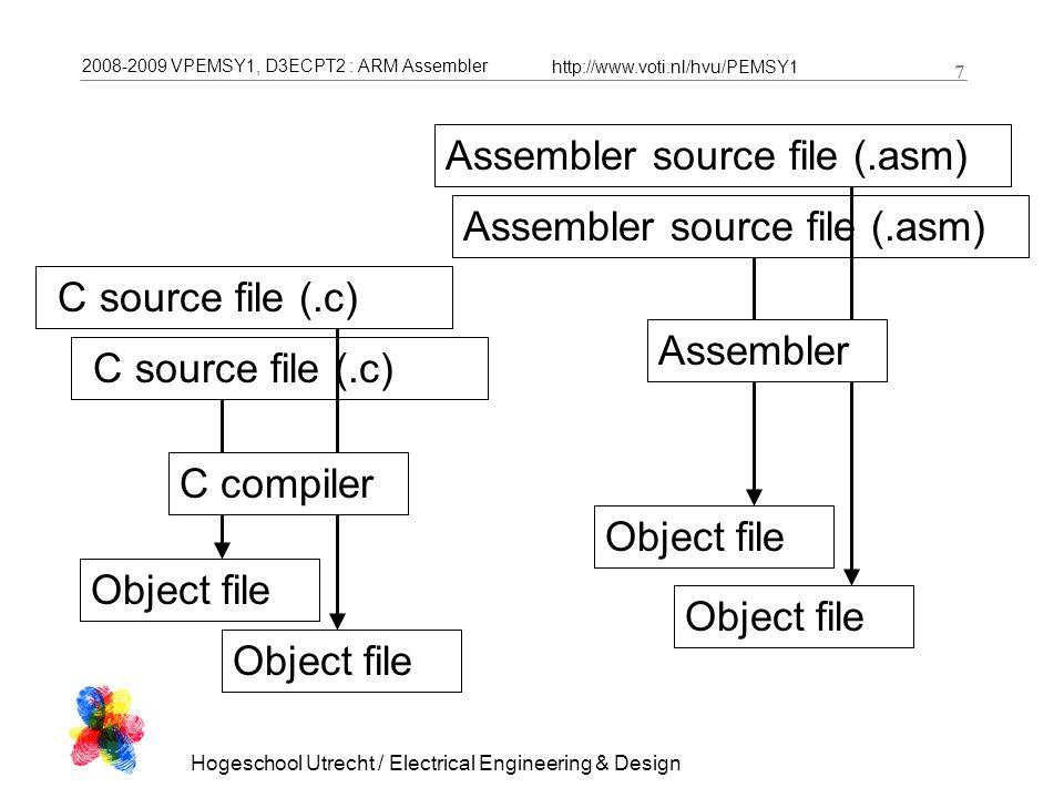 2008-2009 VPEMSY1, D3ECPT2 : ARM Assembler http://www.voti.nl/hvu/PEMSY1 8 Hogeschool Utrecht / Electrical Engineering & Design 8 Executable / image /.hex file Object file Linker Object file