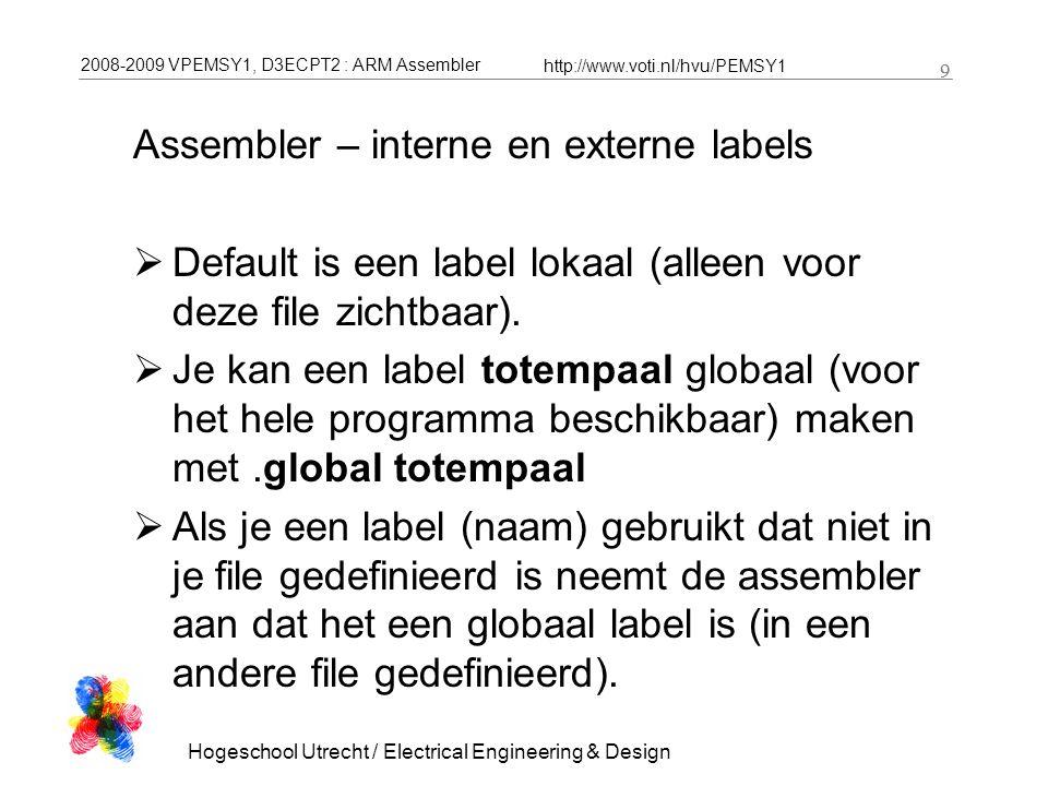 2008-2009 VPEMSY1, D3ECPT2 : ARM Assembler http://www.voti.nl/hvu/PEMSY1 10 Hogeschool Utrecht / Electrical Engineering & Design 10.global asm_counter, subroutine asm_counter:.skip 4 my_counter:.skip 4.code ldr r0, =asm_counter ldr r1, =my_counter ldr r2, =c_counter bl f subroutine:add r1, r0, r1 mov pc, lr Assembler – interne en externe labels