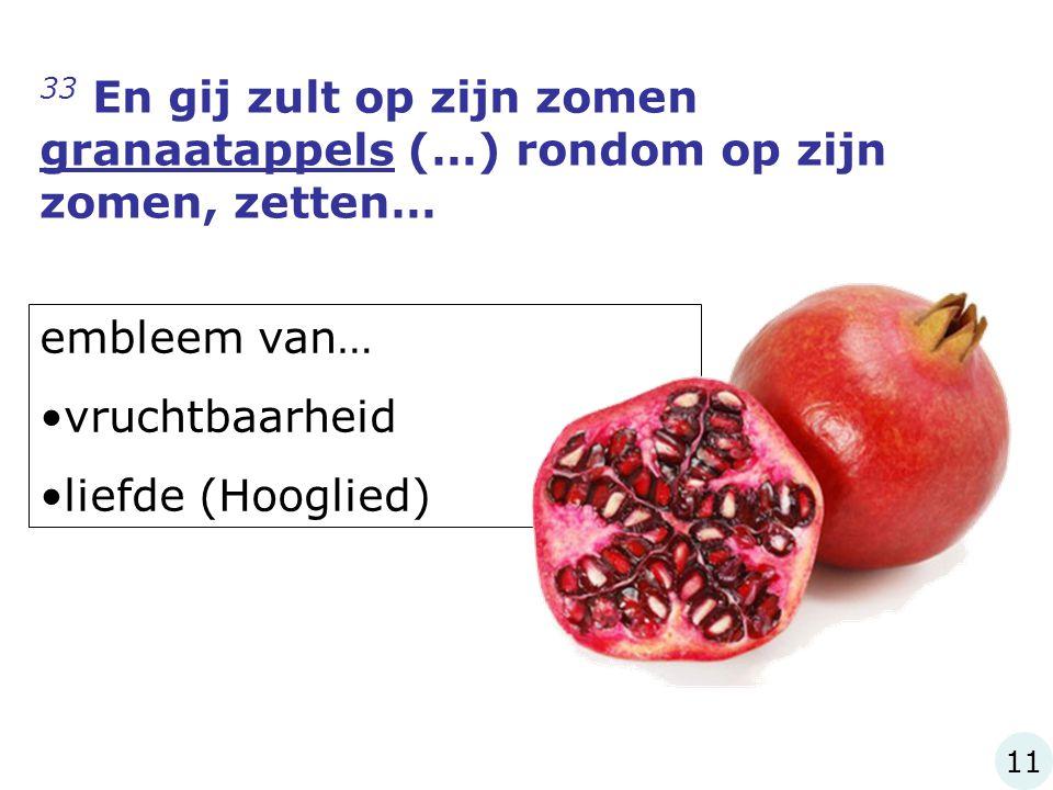 33 En gij zult op zijn zomen granaatappels (…) rondom op zijn zomen, zetten… embleem van… vruchtbaarheid liefde (Hooglied) 11