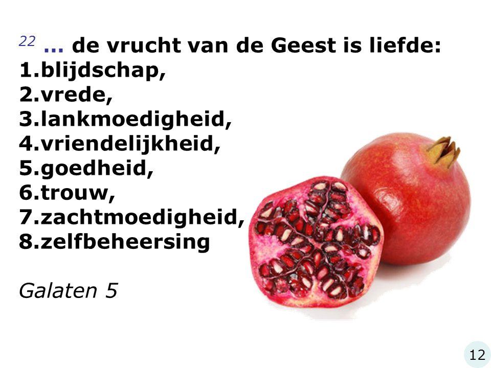 22 … de vrucht van de Geest is liefde: 1.blijdschap, 2.vrede, 3.lankmoedigheid, 4.vriendelijkheid, 5.goedheid, 6.trouw, 7.zachtmoedigheid, 8.zelfbehee