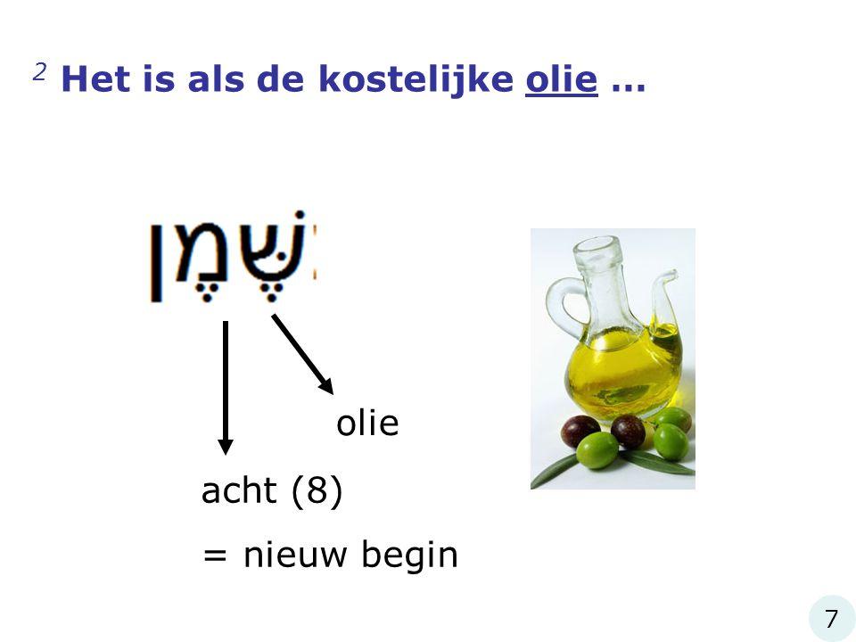 2 Het is als de kostelijke olie … olie acht (8) = nieuw begin 7