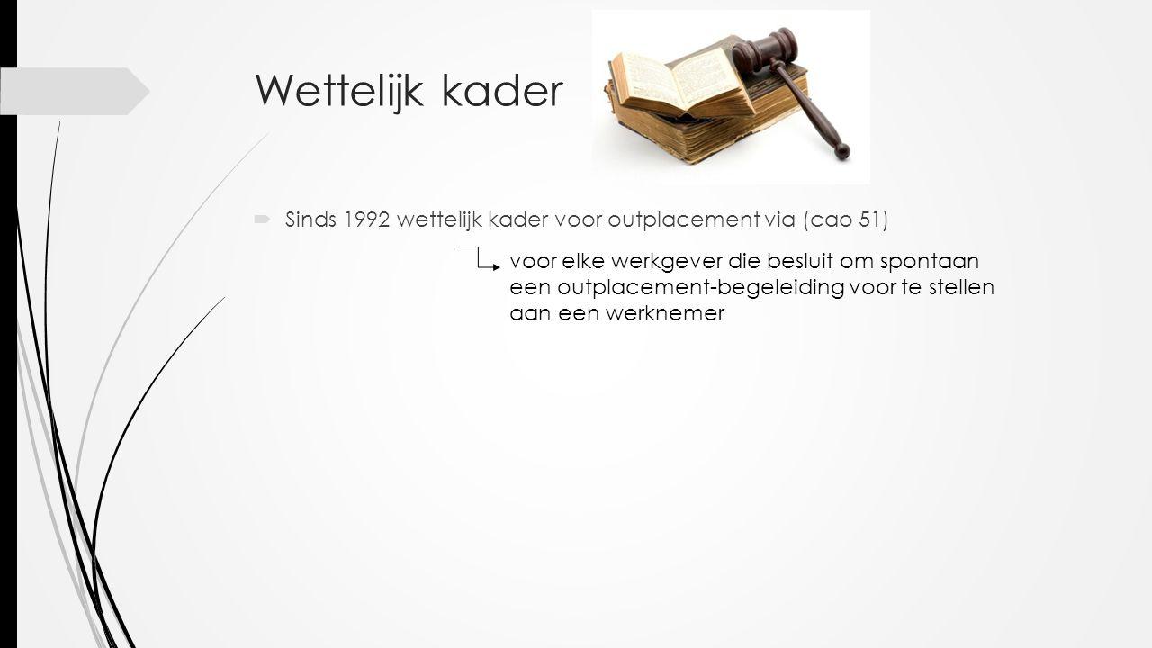 Wettelijk kader  Sinds 1992 wettelijk kader voor outplacement via (cao 51) voor elke werkgever die besluit om spontaan een outplacement-begeleiding voor te stellen aan een werknemer