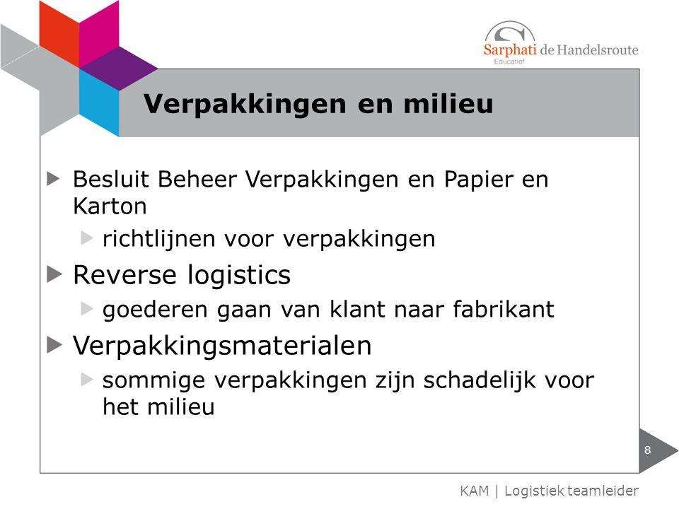 Besluit Beheer Verpakkingen en Papier en Karton richtlijnen voor verpakkingen Reverse logistics goederen gaan van klant naar fabrikant Verpakkingsmate