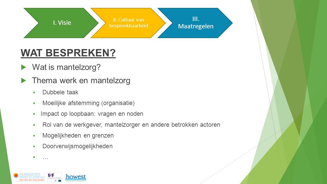 WAT BESPREKEN?  Wat is mantelzorg?  Thema werk en mantelzorg  Dubbele taak  Moeilijke afstemming (organisatie)  Impact op loopbaan: vragen en nod
