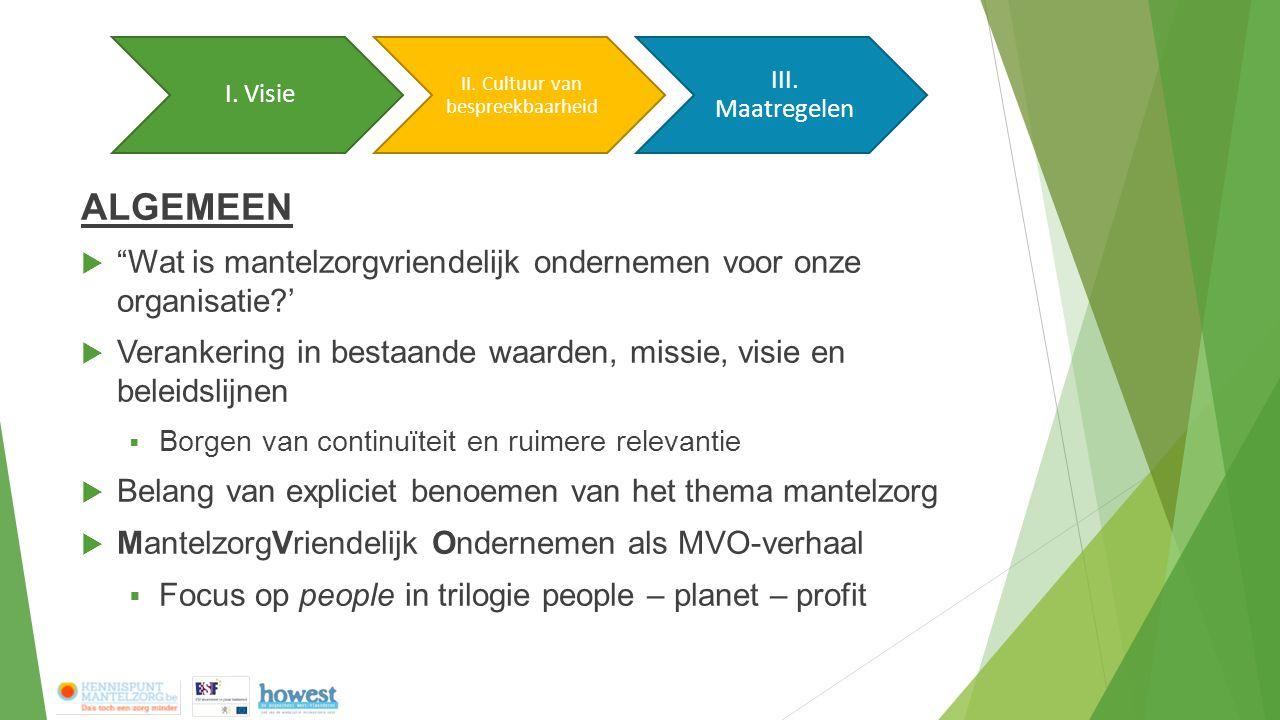 """ALGEMEEN  """"Wat is mantelzorgvriendelijk ondernemen voor onze organisatie?'  Verankering in bestaande waarden, missie, visie en beleidslijnen  Borge"""