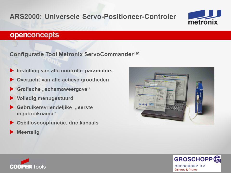 """Configuratie Tool Metronix ServoCommander TM  Instelling van alle controler parameters  Overzicht van alle actieve grootheden  Grafische """"schemawee"""