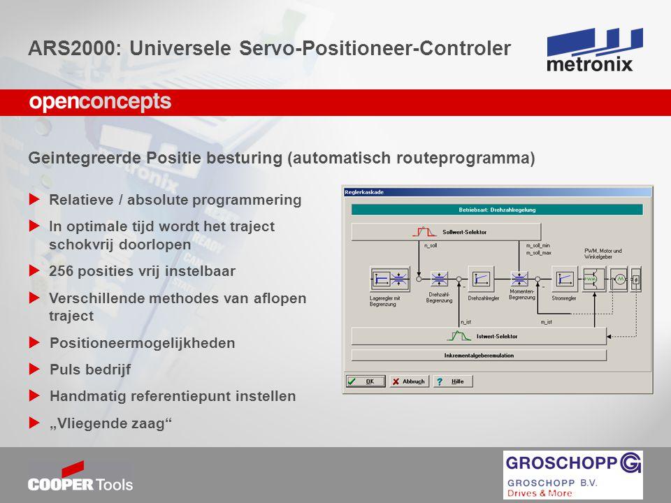Geintegreerde Positie besturing (automatisch routeprogramma)  Relatieve / absolute programmering  In optimale tijd wordt het traject schokvrij doorl