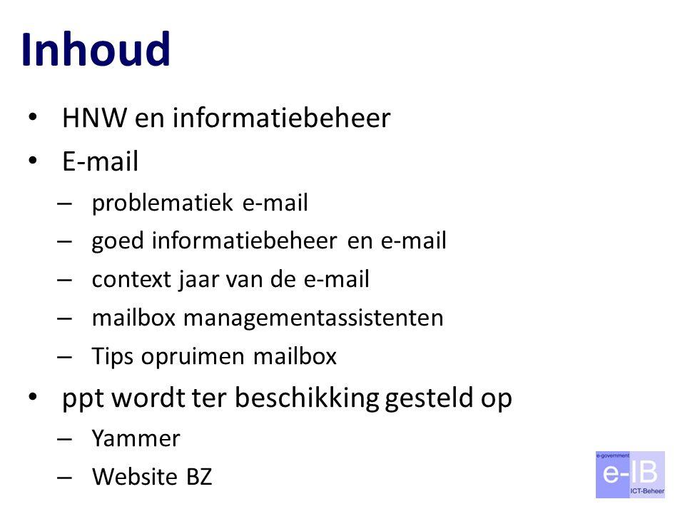 Inhoud HNW en informatiebeheer E-mail – problematiek e-mail – goed informatiebeheer en e-mail – context jaar van de e-mail – mailbox managementassiste