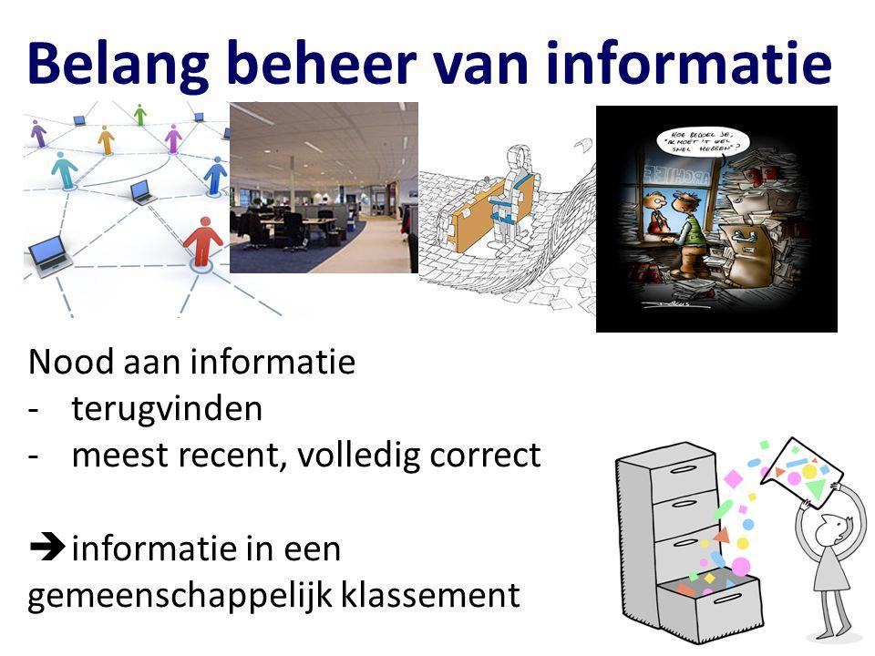 Belang beheer van informatie Nood aan informatie -terugvinden -meest recent, volledig correct  informatie in een gemeenschappelijk klassement