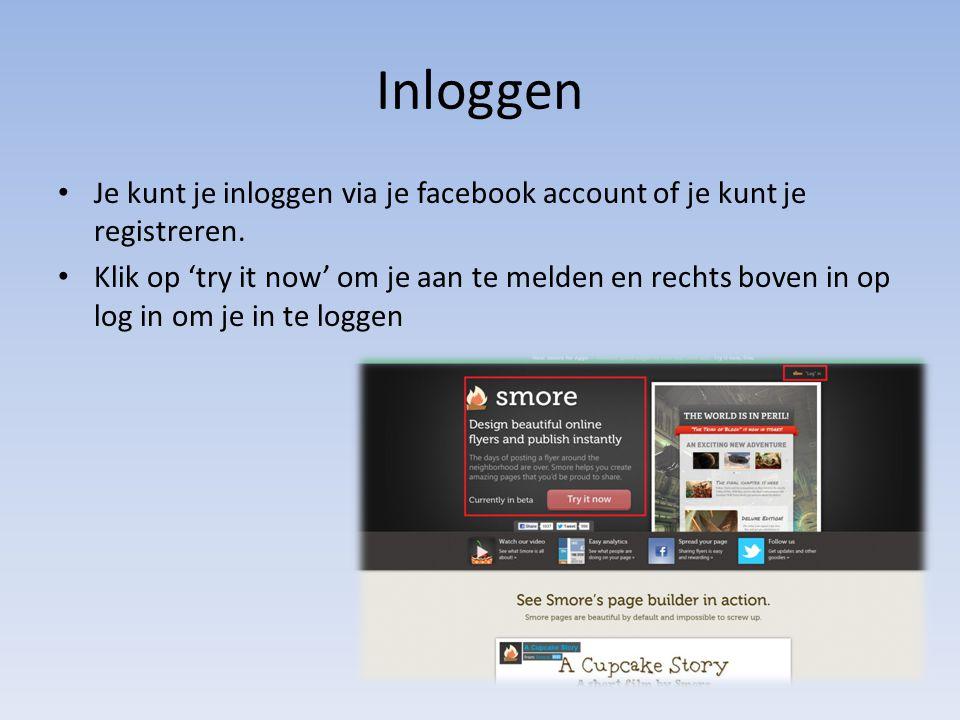 Inloggen Je kunt je inloggen via je facebook account of je kunt je registreren. Klik op 'try it now' om je aan te melden en rechts boven in op log in