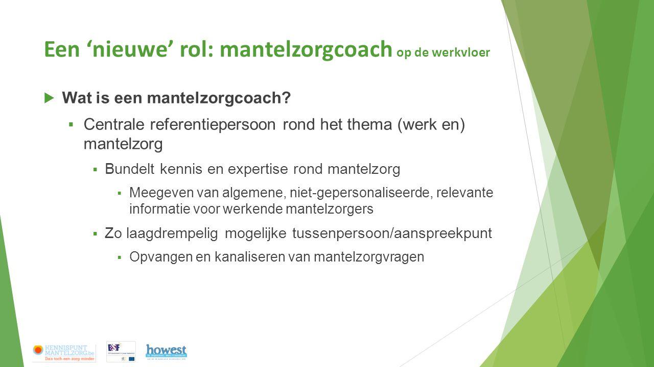 Een 'nieuwe' rol: mantelzorgcoach op de werkvloer  Wat is een mantelzorgcoach?  Centrale referentiepersoon rond het thema (werk en) mantelzorg  Bun