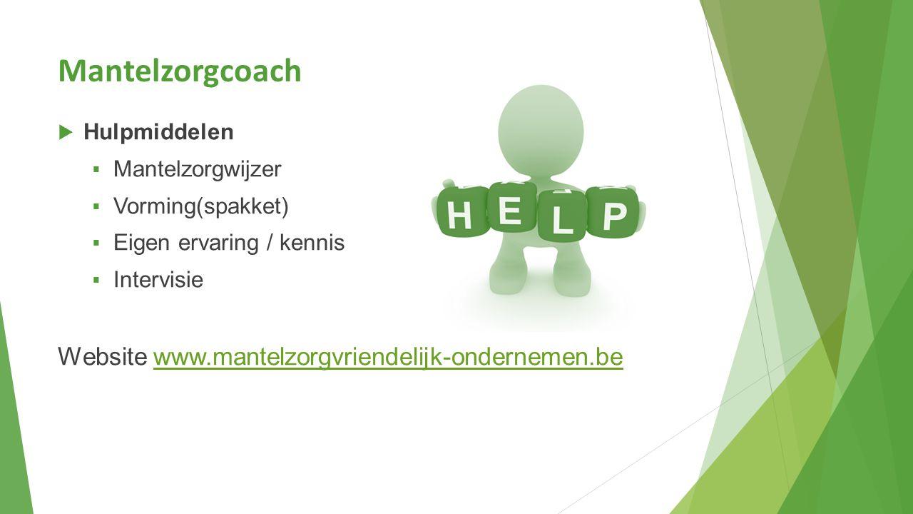 Mantelzorgcoach  Hulpmiddelen  Mantelzorgwijzer  Vorming(spakket)  Eigen ervaring / kennis  Intervisie Website www.mantelzorgvriendelijk-ondernem