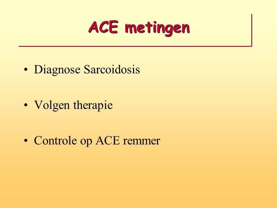 ACE metingen Diagnose Sarcoidosis Volgen therapie Controle op ACE remmer