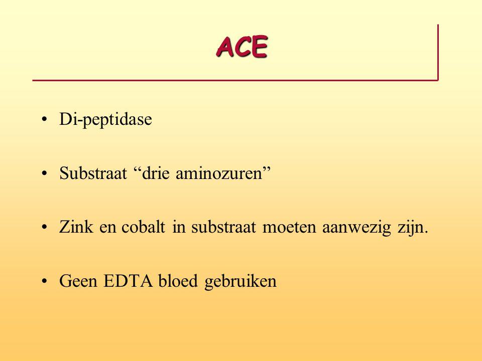ACE Di-peptidase Substraat drie aminozuren Zink en cobalt in substraat moeten aanwezig zijn.