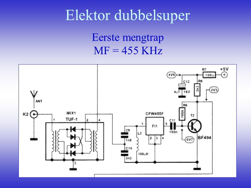 Elektor dubbelsuper Eerste mengtrap MF = 455 KHz