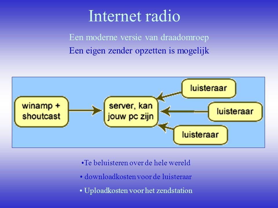 Internet radio Een moderne versie van draadomroep Een eigen zender opzetten is mogelijk Te beluisteren over de hele wereld downloadkosten voor de luis