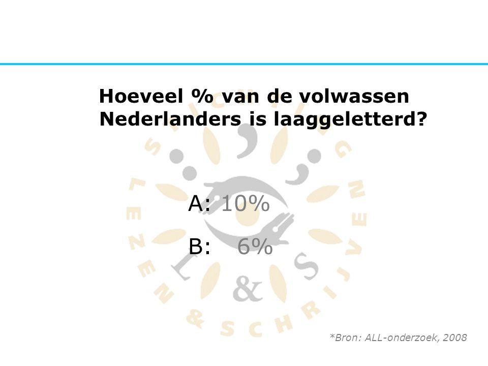 Hoeveel % van de volwassen Nederlanders is laaggeletterd? A: 10% B:6% *Bron: ALL-onderzoek, 2008
