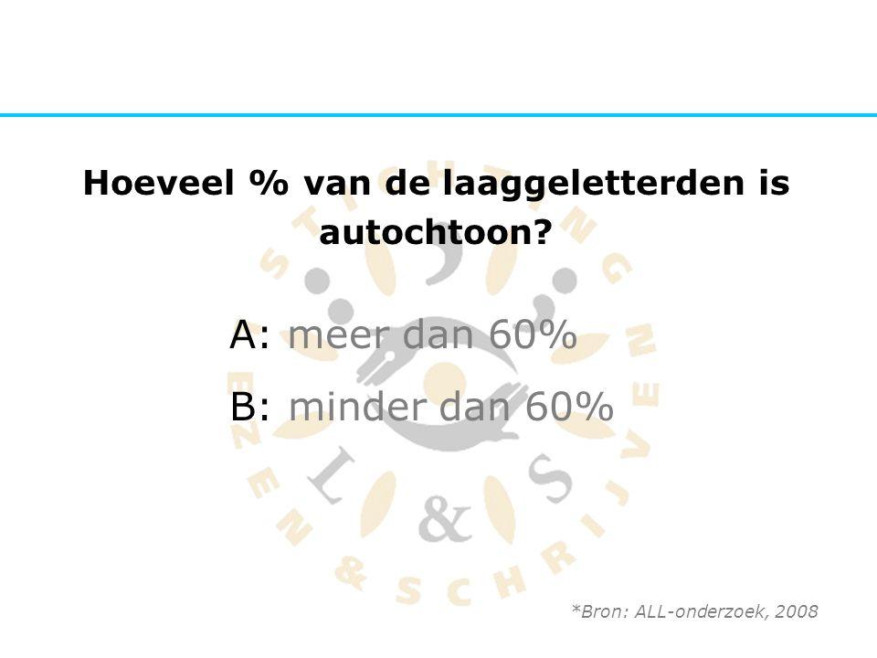 Hoeveel % van de laaggeletterden is autochtoon? A: meer dan 60% B: minder dan 60% *Bron: ALL-onderzoek, 2008