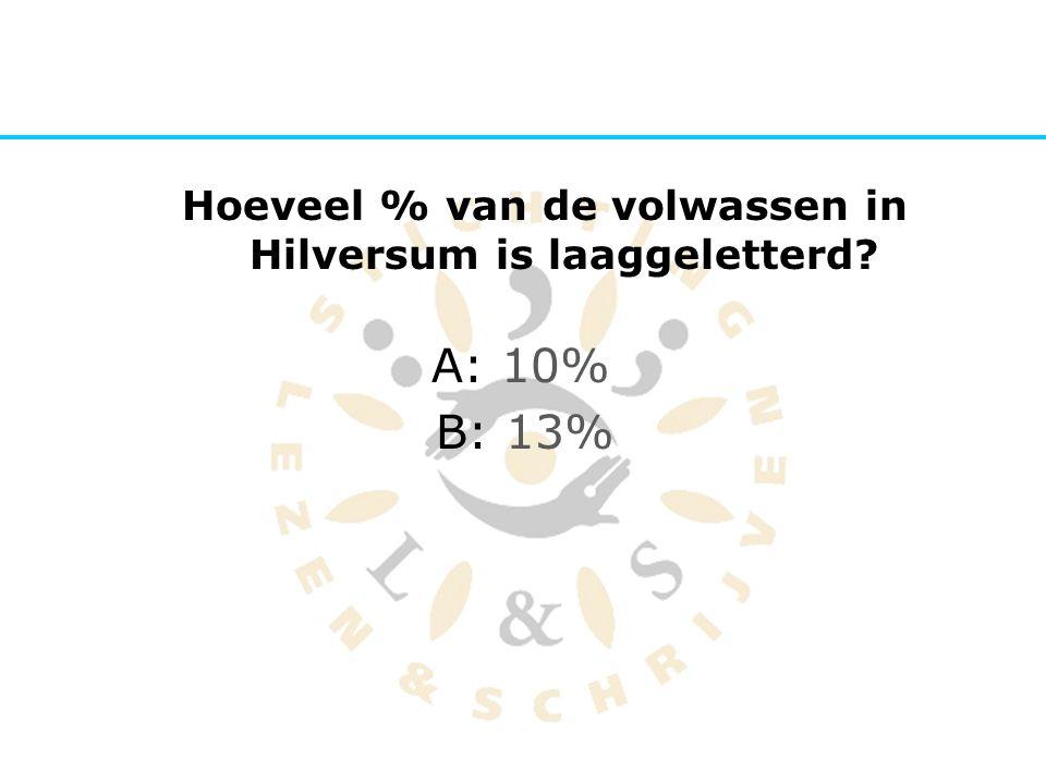 Hoeveel % van de volwassen in Hilversum is laaggeletterd? A: 10% B: 13%