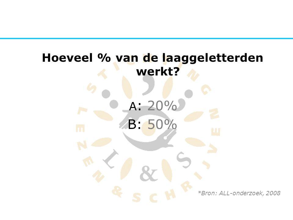 Hoeveel % van de laaggeletterden werkt? A : 20% B: 50% *Bron: ALL-onderzoek, 2008