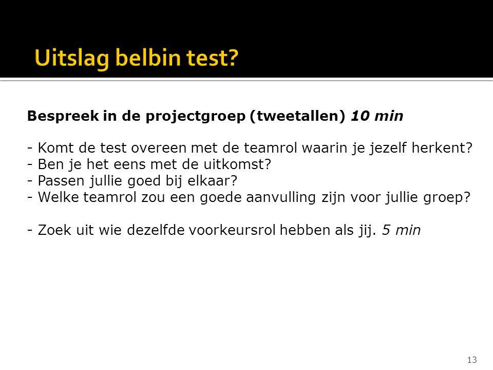 Bespreek in de projectgroep (tweetallen) 10 min - Komt de test overeen met de teamrol waarin je jezelf herkent? - Ben je het eens met de uitkomst? - P
