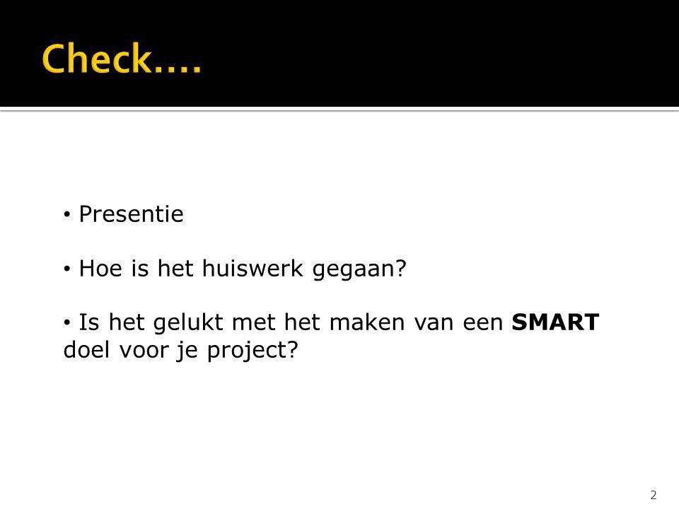 Presentie Hoe is het huiswerk gegaan? Is het gelukt met het maken van een SMART doel voor je project? 2