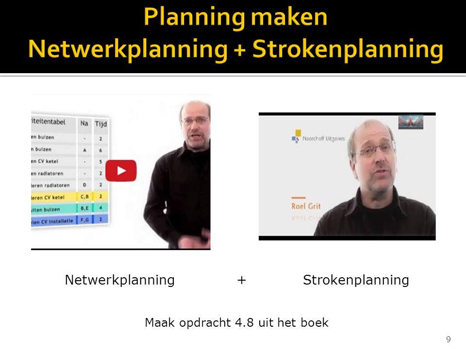 9 Netwerkplanning............+...........Strokenplanning Maak opdracht 4.8 uit het boek