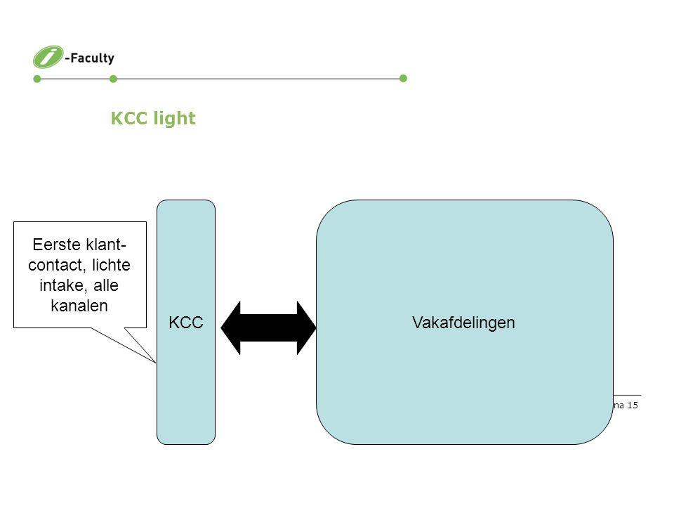 Pagina 15 KCC light KCCVakafdelingen Eerste klant- contact, lichte intake, alle kanalen