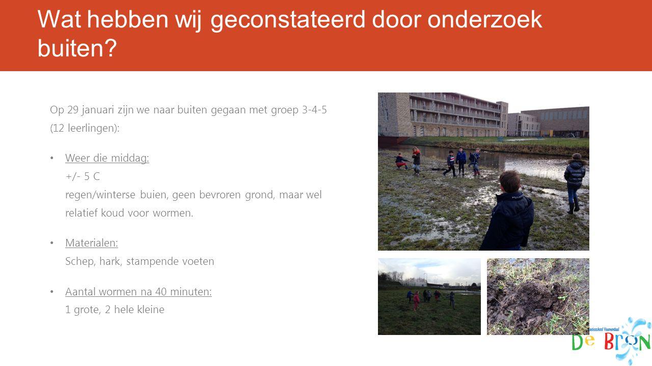 Wat hebben wij geconstateerd door onderzoek buiten? Op 29 januari zijn we naar buiten gegaan met groep 3-4-5 (12 leerlingen): Weer die middag: +/- 5 C