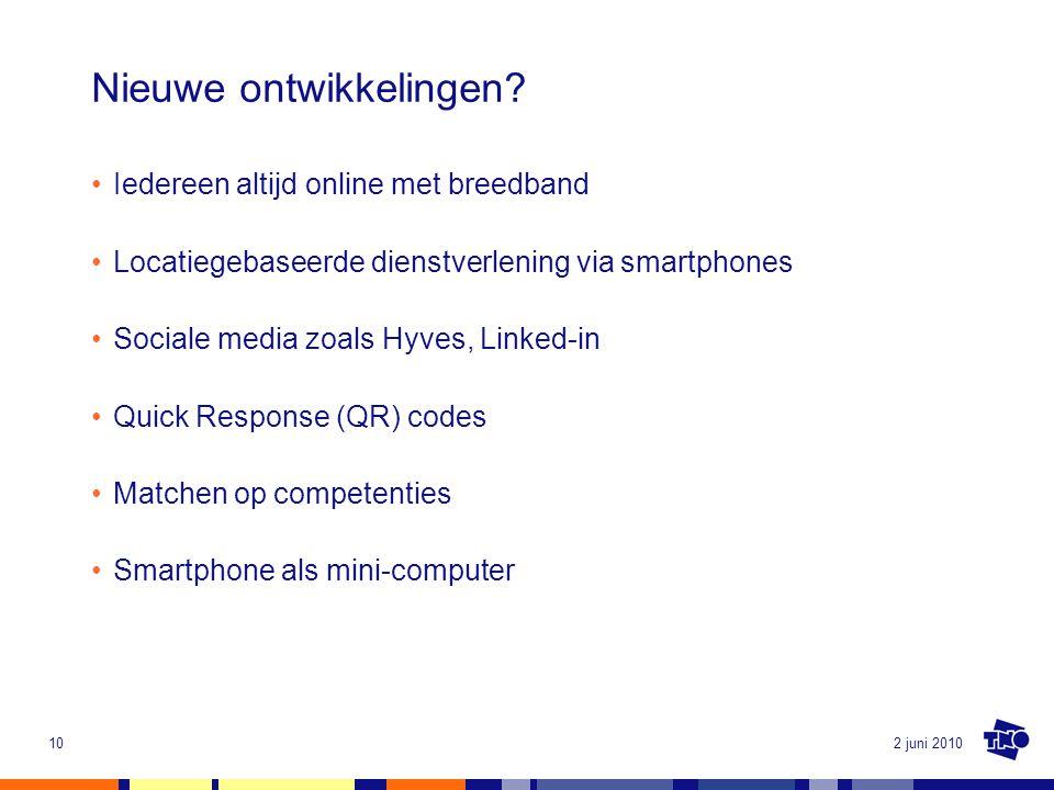 2 juni 201010 Nieuwe ontwikkelingen? Iedereen altijd online met breedband Locatiegebaseerde dienstverlening via smartphones Sociale media zoals Hyves,