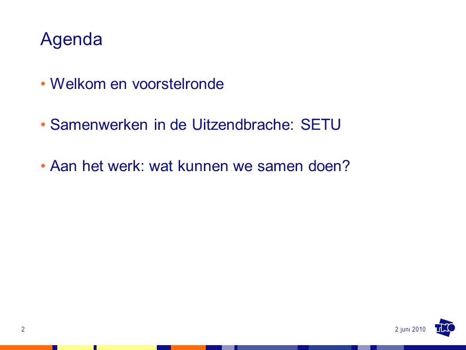 2 juni 20102 Agenda Welkom en voorstelronde Samenwerken in de Uitzendbrache: SETU Aan het werk: wat kunnen we samen doen?
