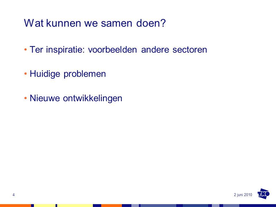 2 juni 20104 Wat kunnen we samen doen? Ter inspiratie: voorbeelden andere sectoren Huidige problemen Nieuwe ontwikkelingen
