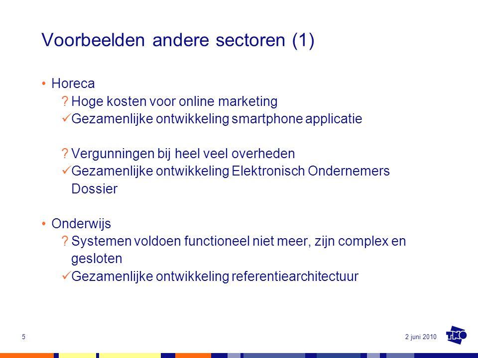 2 juni 20105 Voorbeelden andere sectoren (1) Horeca ?Hoge kosten voor online marketing Gezamenlijke ontwikkeling smartphone applicatie ?Vergunningen b