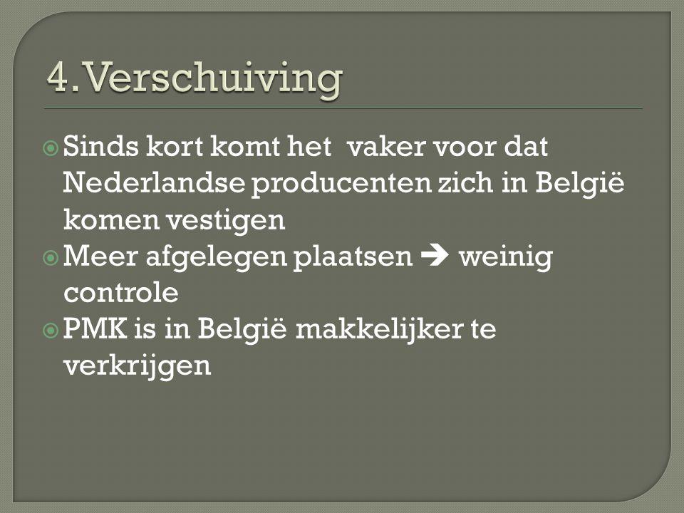  Sinds kort komt het vaker voor dat Nederlandse producenten zich in België komen vestigen  Meer afgelegen plaatsen  weinig controle  PMK is in België makkelijker te verkrijgen