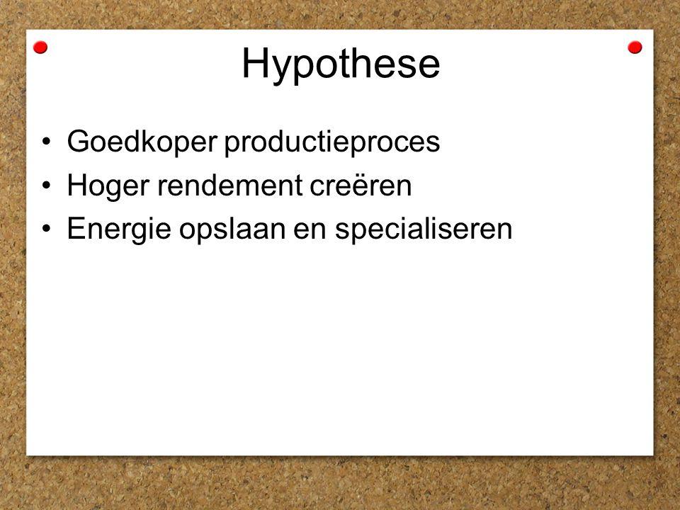 Hypothese Goedkoper productieproces Hoger rendement creëren Energie opslaan en specialiseren
