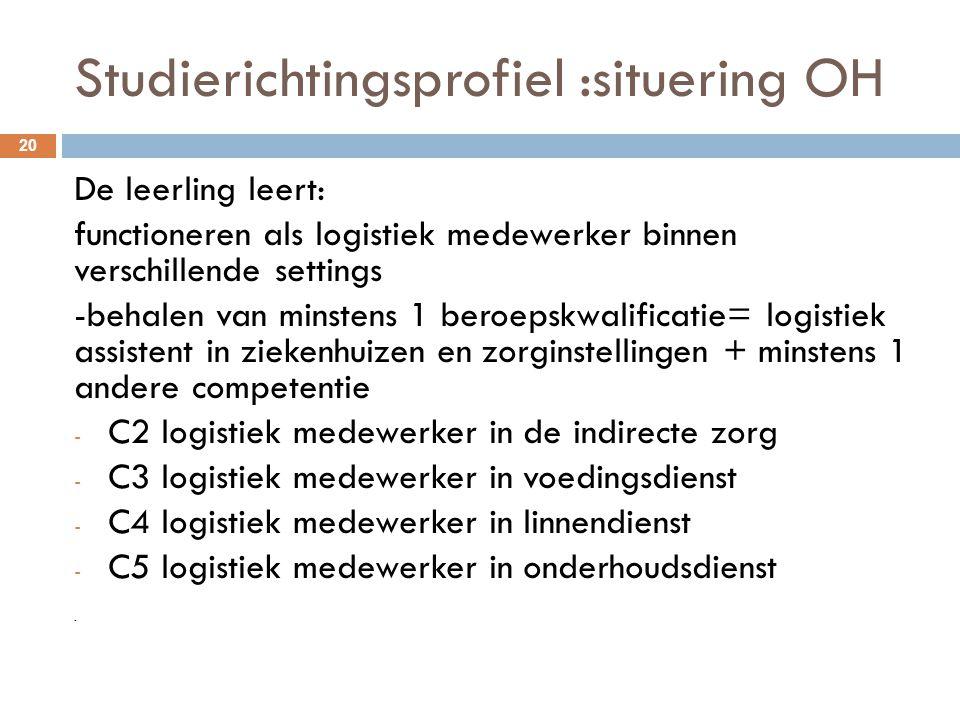 Studierichtingsprofiel :situering OH 20 De leerling leert: functioneren als logistiek medewerker binnen verschillende settings -behalen van minstens 1