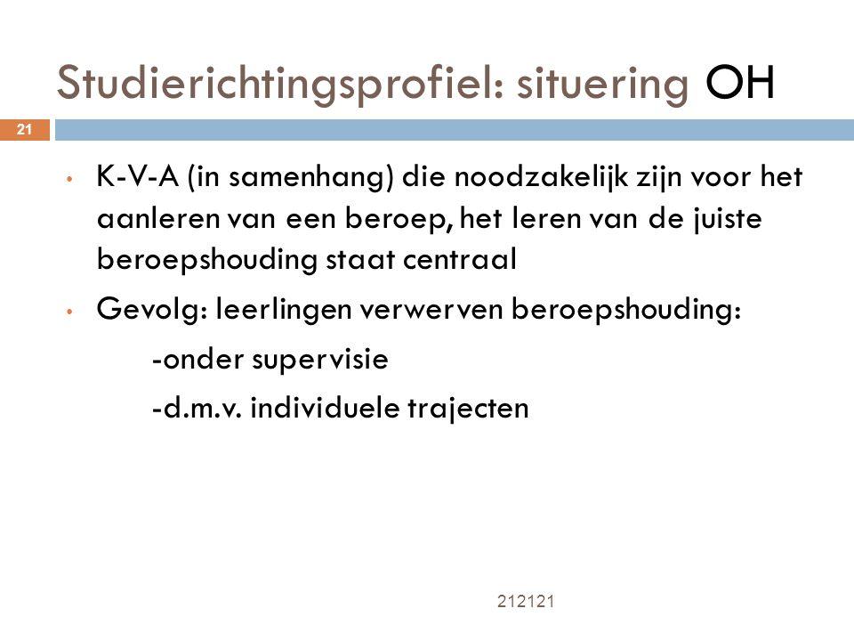 Studierichtingsprofiel: situering OH 21 K-V-A (in samenhang) die noodzakelijk zijn voor het aanleren van een beroep, het leren van de juiste beroepsho