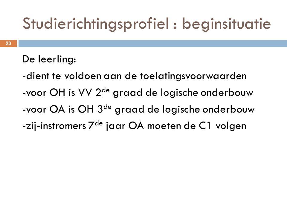 Studierichtingsprofiel : beginsituatie 23 De leerling: -dient te voldoen aan de toelatingsvoorwaarden -voor OH is VV 2 de graad de logische onderbouw